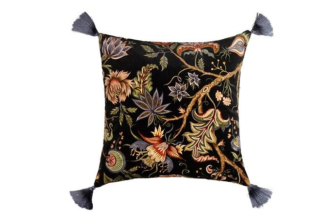 "Damas large velvet cushion in Black, £195 (about $348), [House of Hackney](https://www.houseofhackney.com/|target=""_blank""|rel=""nofollow"")"