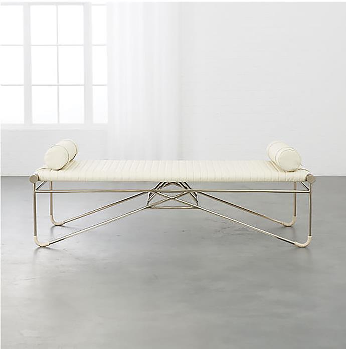 'La strizza' **bench** with bolster pillows, $2788.24