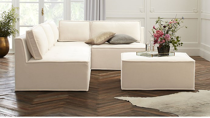 'Quattro' snow velvet tufted 4 piece sectional **sofa**, $8510.09
