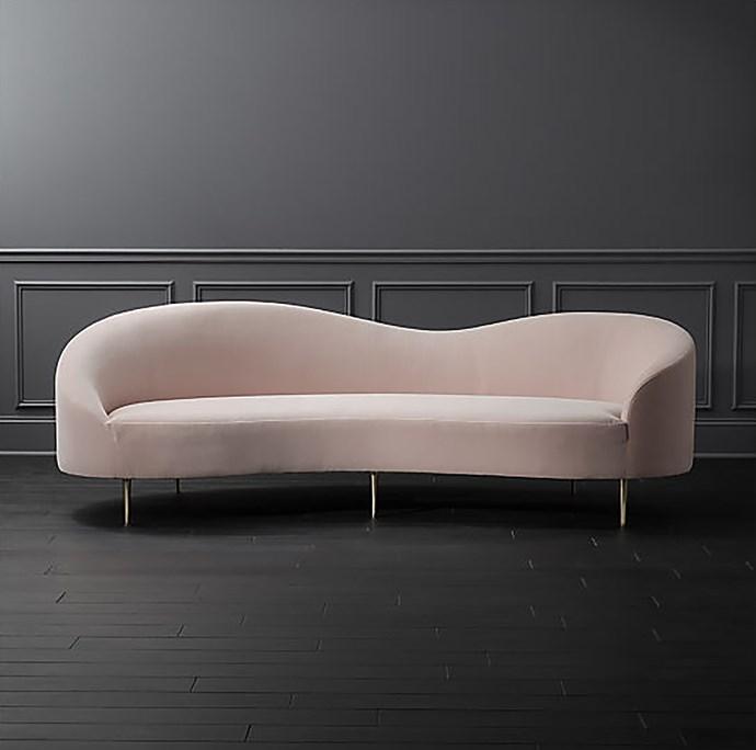 'Curvo' pink velvet **sofa**, $2935.07