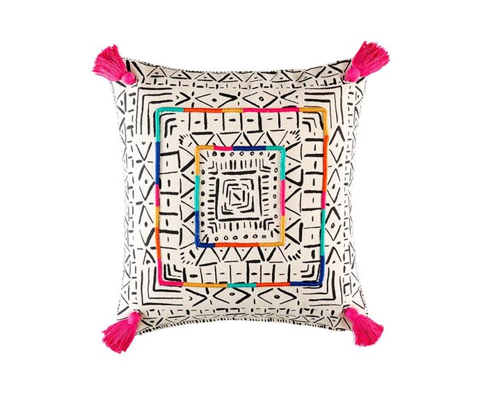 "'Kyos' square **cushion**, $59.95, from [Kas](https://www.kasaustralia.com.au/collections/new-arrivals/products/kyos-cushion-cover|target=""_blank""