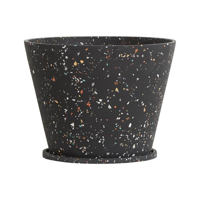 "Terrazzo original **pot** by Capra Designs, $59, from [Life Interiors](https://www.lifeinteriors.com.au/homewares/pots-planters/capra-designs-terrazzo-original-pot-black|target=""_blank""