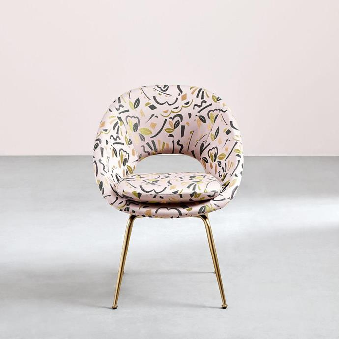 "'Orb' upholstered dining chair in pop art jacquard, $399, from [West Elm](http://www.westelm.com.au/orb-upholstered-dining-chair-pop-art-jacquard-h3352|target=""_blank""