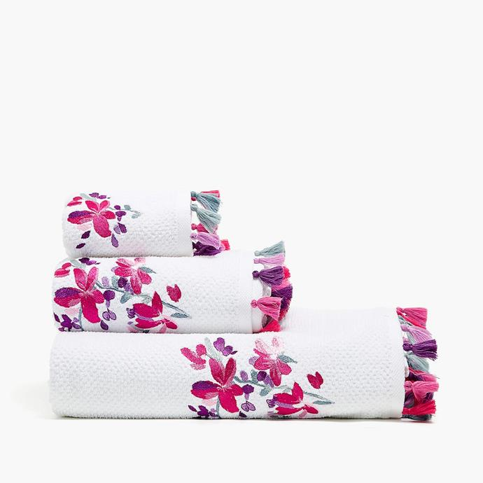 "Embroidered bath **towel** with pom poms, $75.95, from [Zara Home](https://www.zarahome.com/au/bathroom/towels/embroidered-towel-with-pompoms-c1089034p300741053.html?ct=true|target=""_blank""
