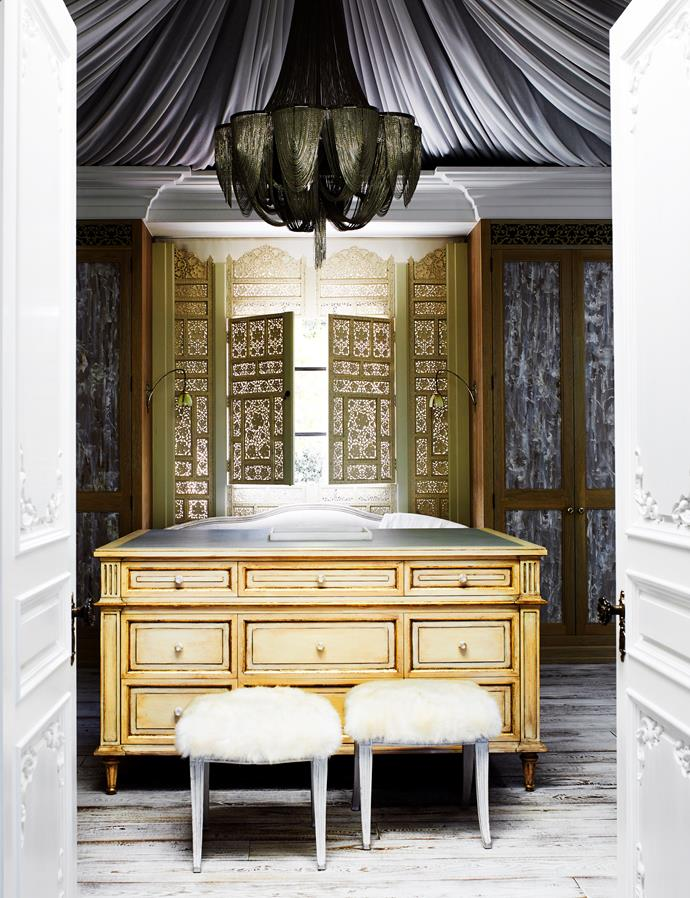 This dressing room designed by Dylan Farrell Design and Thomas Hamel & Associates evokes French baroque and Swedish neoclassicism. *Photograph*: Prue Ruscoe | *Styling*: Karen Cotton. From *Belle* May 2017.