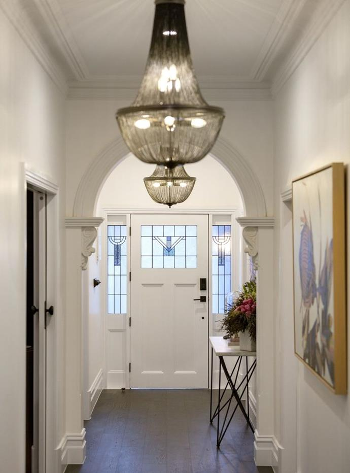**Entry and hallway:** While the judges weren't too keen on the mishmash of period features (Victorian archway paired with Art Deco cornices), we loved everything about Ronnie and Georgia's hallway. The restored archway teamed with modern chandeliers was the perfect blending of old and new, something we think Ronnie and Georgia did really well throughout the entire home.