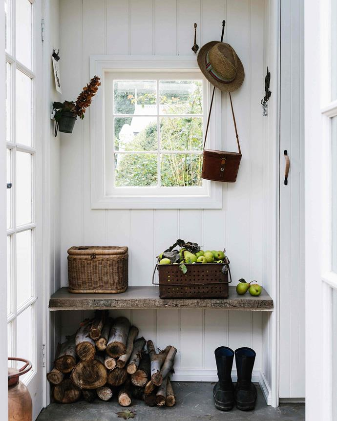 "Rob built the mudroom to open into the kitchen. The fishing basket is from [Dallas](https://www.instagram.com/dallas_trentham/?hl=en|target=""_blank""