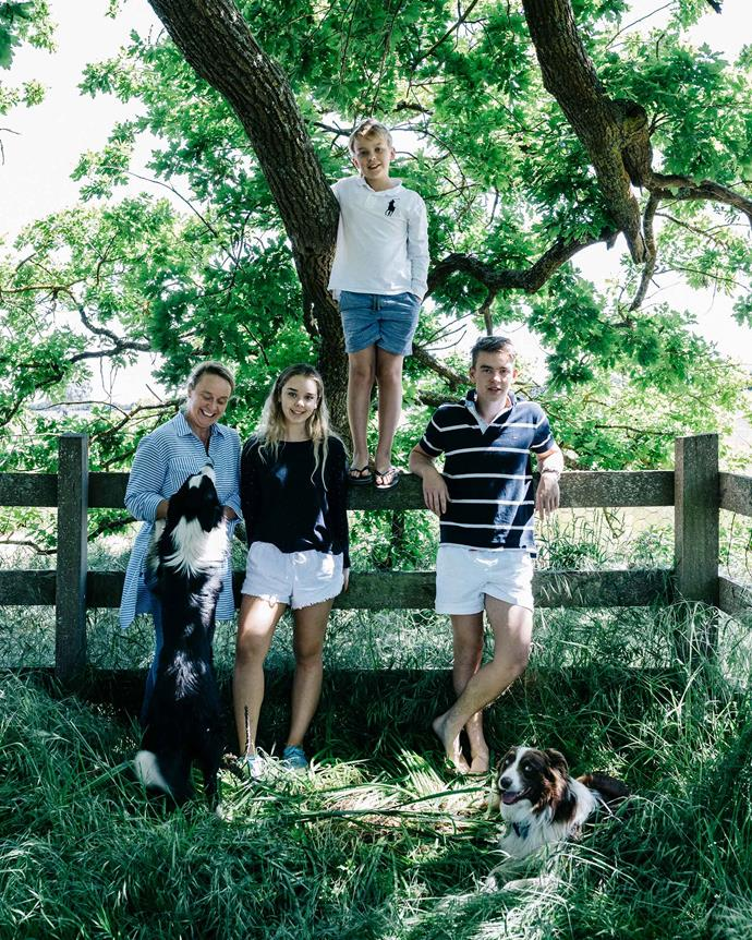 Kate with Sophie, Harry and William, and dogs Mitch and Boof.