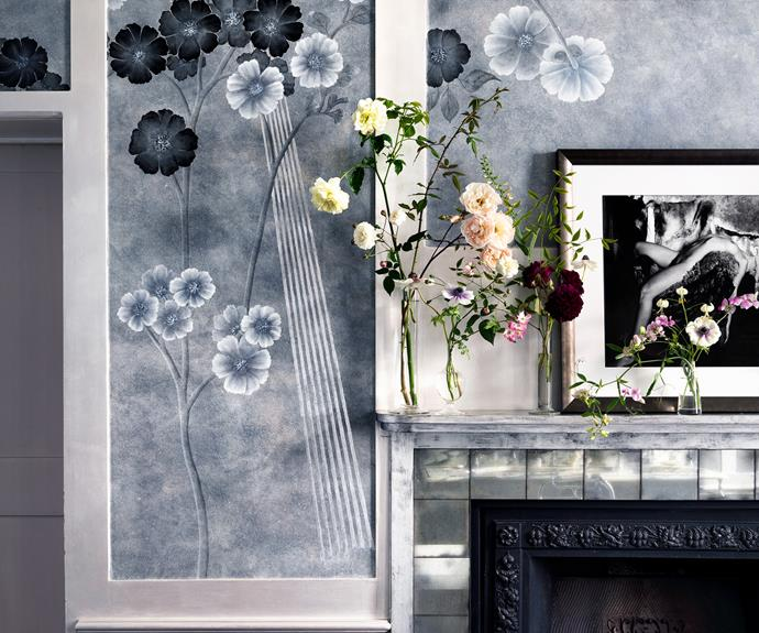 Supermodel Kate Moss's bathroom is decorated with glamorous wallpaper she designed in collaboration with de Gournay.
