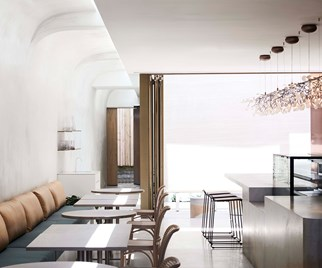 All-white interior of Willow Wellness Retreat cafe