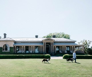 Woman and dogs walking in front of the historic Mount Mitchell homestead in Victoria