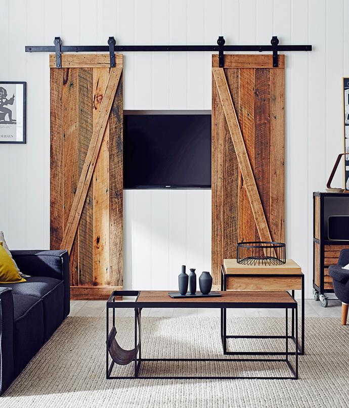 Play TV peek-a-boo with sliding barn doors. *Photo: bauersyndication.com.au*