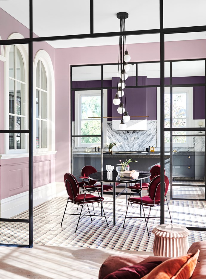 **Wall (front)** in Dulux Legendary Lilac; **Wall (rear)** in Purple Verbena; **Ceiling** in Lexicon® Half