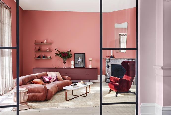 **Wall (rear)** in Dulux Shepherd's Warning; **Console** in Federation Brown; **Wall (right)** in Pink Linen Half; **Ceiling & trims** in Lexicon® Half