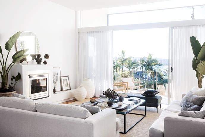 Kerry was sold on the ocean and beach views from this room. Sofas by Penman Brown Interior Design in Westbury Textiles 'Washed Luxembourg' linen in Birch.
