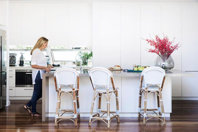 Though built well before Kerry's family moved in, this bright and airy hub with Caesarstone benchtops still looks smart and functions well. 'St Tropez' stools, Alfresco Emporium.