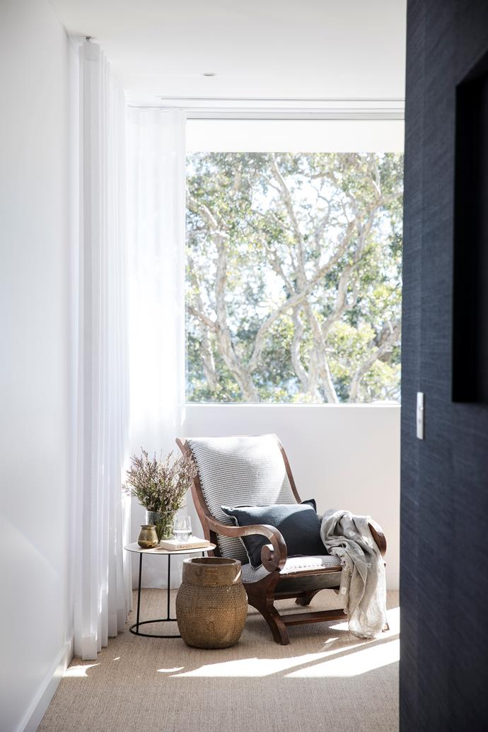 This sunny corner in the main bedroom features an easy chair upholstered in a Dedar fabric from South Pacific Fabrics. Heerenhuis 'Nimbus II' side table, Spence & Lyda. Basket, Orient House. Sisal flooring, The Natural Floorcovering Centres.