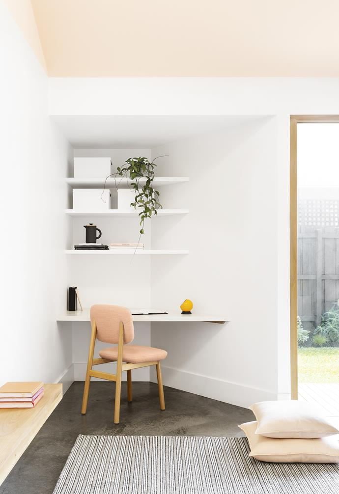 The geometric lines of the extension created two little nooks at either end of the building, which have been put to good use as the study and laundry. In time, it's set to be a prime spot for homework within the shared family space, complete with a [Jardan](https://www.jardan.com.au/) chair. Photography by Martina Gemmola. Styling by Ruth Welsby. Photographer: Martina Gemmola, Stylist: Ruth Welsby