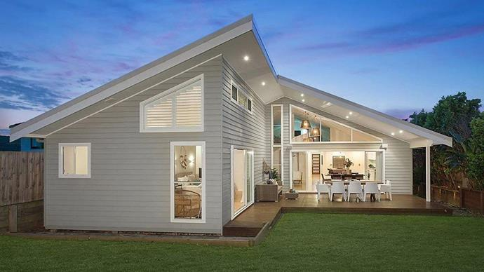 A classic weatherboard exterior suits the home's coastal location. *Photo: Domain*