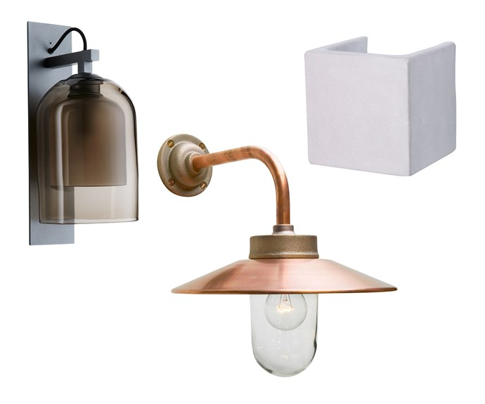 """**Light it up** Whether vintage, sophisticated or even brutalist, the light at your entry sets the tone for what lies beyond the front door. *Pictured* (left to right) 'Lumi' wall sconce, from $2000, [Articolo](http://articololighting.com/