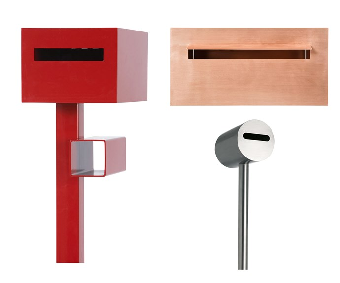 """**Out of the box** Pick a letterbox that delivers – Robert Plumb's range of minimalist post boxes set a sleek, modern tone from the get-go. *Pictured* (clockwise left to right) 'Project' letterbox & newspaper holder, $685, [Robert Plumb](https://robertplumb.com.au/