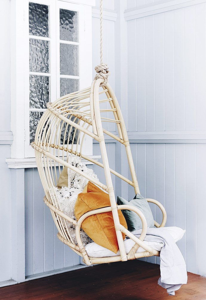 """**Hanging around** Dress up this sweet chair with your favourite throws and cushions for a personal look. The 'Lucy' hanging chair, $499, is at [Byron Bay Hanging Chairs](https://www.byronbayhangingchairs.com.au/