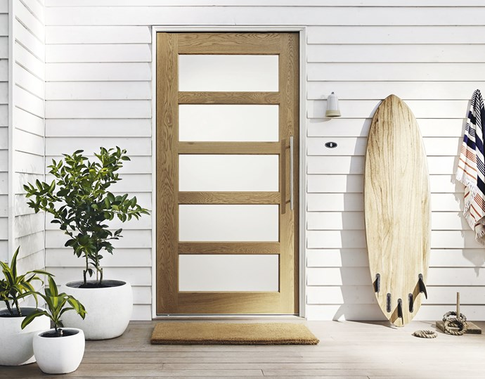 """**Make an entrance** A spectacular front door never fails. Corinthian Doors' 'Blonde Oak' collection pairs light timber with translucent glass panels, from $466. Available from September, visit [Corinthian](https://www.corinthian.com.au/