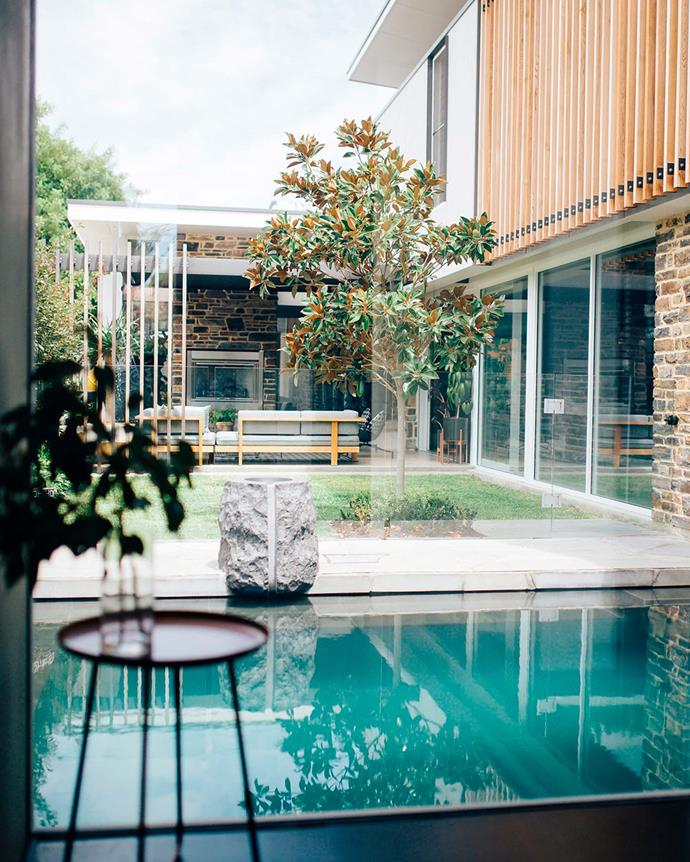 "The house is arranged around its plunge pool, which ""acts as a water feature when no one's bobbing around in it,"" notes David. 