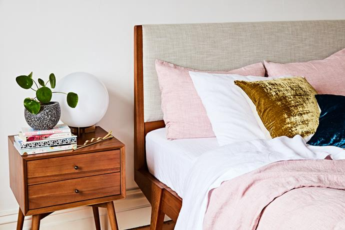 """With soft colours brought into the bedroom through large format pieces, the room is full of personality, with Beci saying, """"I love it - actually way more than I thought. I wake up daily feeling like I have my life together, because my bedroom is so beautiful!"""""""