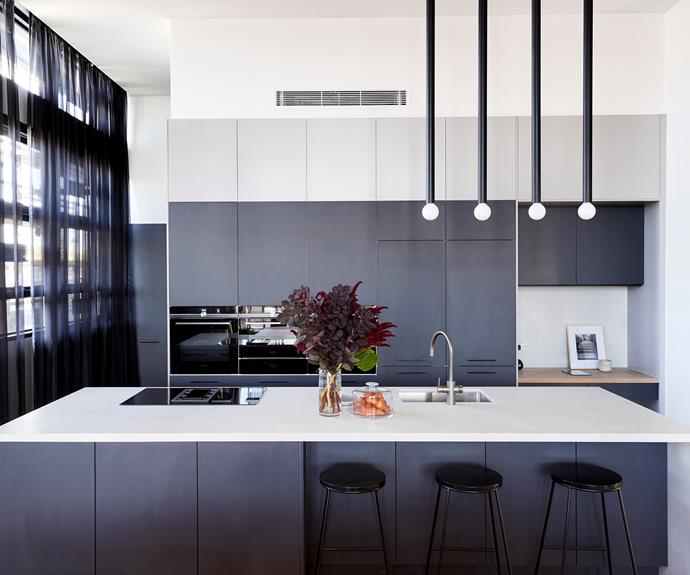 **Bianca and Carla** The sophisticated style of the kitchen works consistently and perfectly with the aesthetic Bianca and Carla have created in the rest of their apartment.