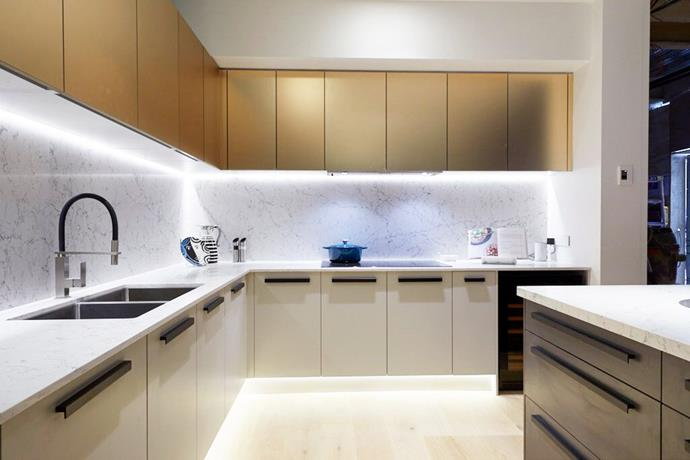 """**Metallic finish cabinetry – Courtney and Hans**: """"My heart belongs to this finish"""" said Darren, gushing over the matt, champagne [metallic finish](https://www.homestolove.com.au/new-modern-from-marble-to-metallic-and-matt-black-1976