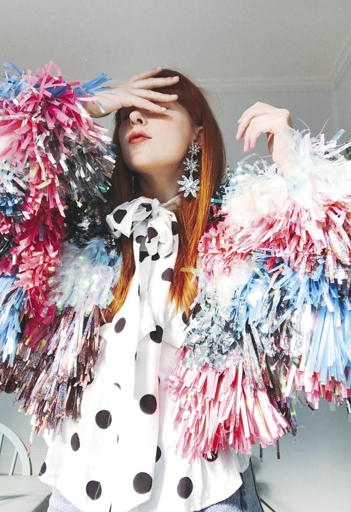 **Express yourself**  Rachel wears her 'Rainbow Jacket' creation.