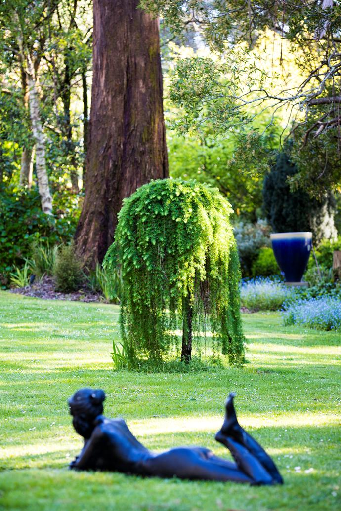 A whimsical sculptural figure gives a hint of the wonders in the garden around it. Behind is a weeping European larch (Larix decidua 'Pendula') and a pot by local artist Ted Secombe.