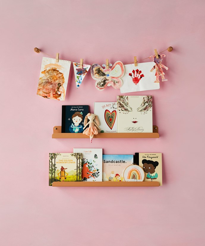 Timber peg hooks in Beech, $9.50 each, Imprint House. Jute rope, $4 for 30m, and wooden pegs, $3 for pack of 6, Kmart. The Ledge shelves in Clay (80cm), $164 each, H&G Designs.