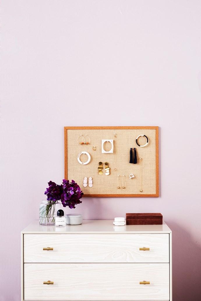 "J.Burrows ""Hessian"" pinboard in Oak (60cm x 45cm), $9.97, Officeworks. Modernist Wood + Lacquer 3-Drawer dresser in Winter Wood, $1049, West Elm."