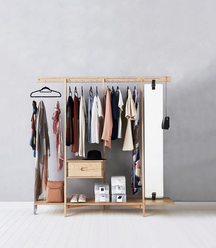 "Nofu ""654"" clothing rack in Natural Ash, $1709, Curious Grace."
