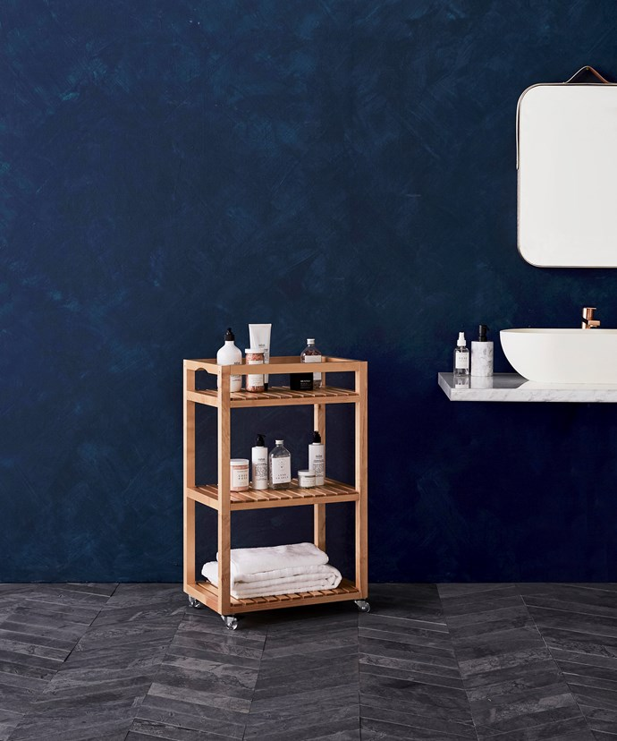 This Molger trolley in Birch, $89, from Ikea, is great for storing everyday items like cosmetics and hand towels within easy reach.