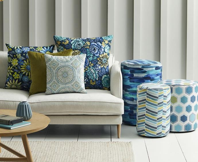 """""""If you are feeling nervous, start with a plain fabric and then add layers of textures. Try patterns and pops of colour with accessories like feature chairs, scatter cushions and throw rugs."""" *Image: Supplied*"""
