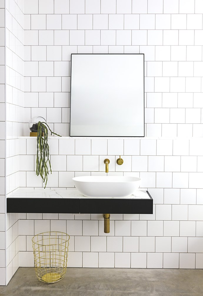 """**In the frame ** Ditch a fixed or permanent mirror above the vanity in favour of a freestanding version. Secured on a ledge or hung from a hook, it keeps the look light and is easy to switch to a different size or shape later. *Design: [Ha Architecture](http://h-a.com.au/