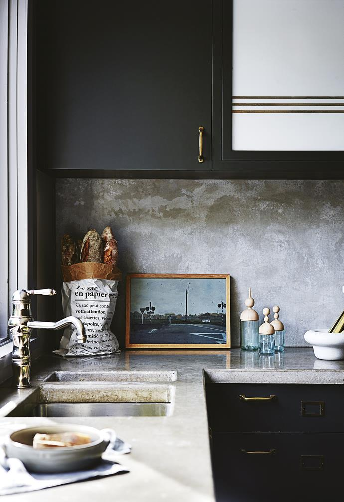 """**Work of art** Displaying art in the kitchen can be tricky, mostly because kitchens are steamy, messy environments. A framed photograph or vintage find will add interest propped on the bench, but be sure to hang any precious pieces away from the splash zone. *Design: [Claire Delmar](https://www.clairedelmar.com.au/