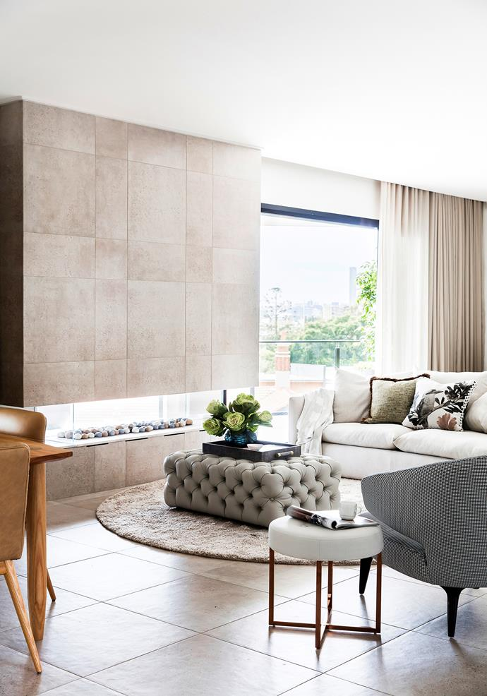 With its cosy fireplace and city views, this area is as treasured for me-time as it is for socialising. The fireplace is double-sided, serving indoors and out.