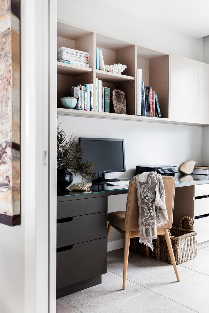 Katrina is an editor who works from home so a quiet, well-organised study was essential. Joinery in 'Enviroven' veneer, New Age Veneers.
