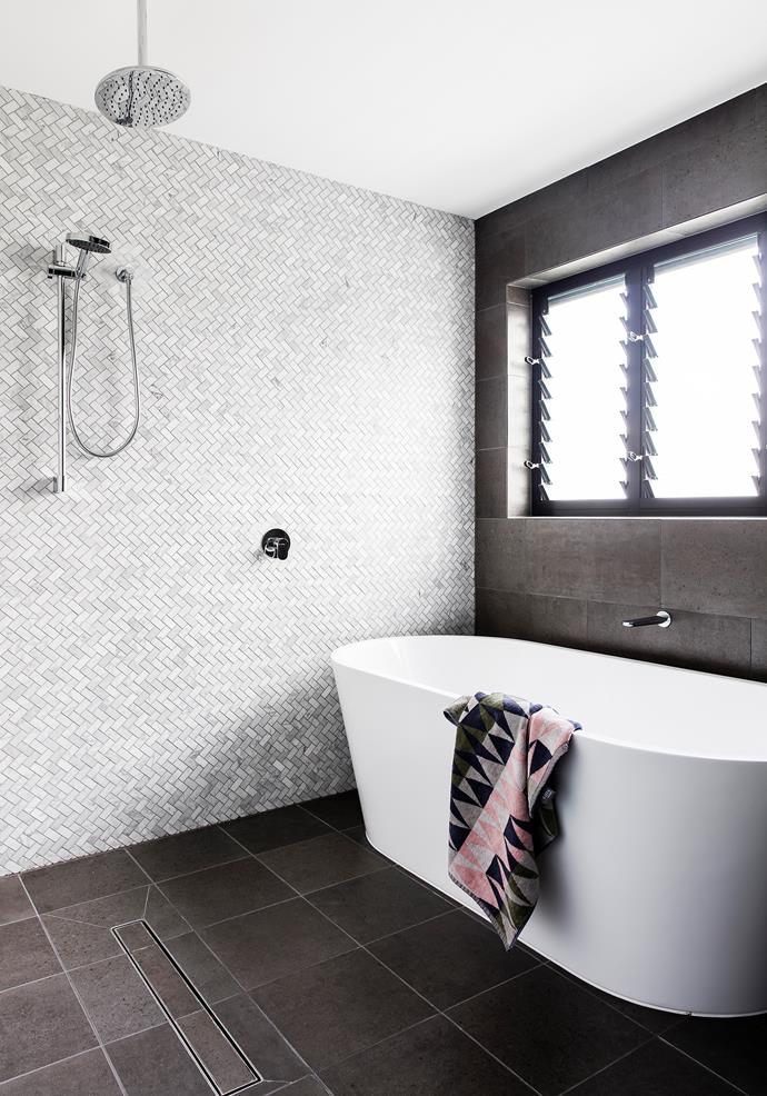 Mosaic, wall and floor tiles, from The Tile Mob. Newform 'Linfa' mixer taps, from Just Bathroomware. Bath, Parisi.