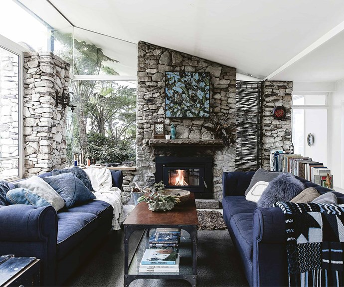 The stone fireplace adds to the home's warm and inviting appeal.