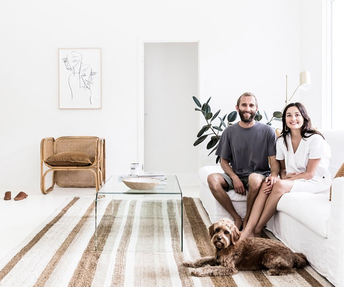 Founders of fashion label St Agni at home in their coastal minimalist living room in Byron Bay