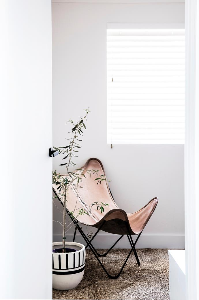 """I love creating spaces that incorporate natural shapes, colours and light,"" says Mariah, who sourced the butterfly chair from Gumtree."