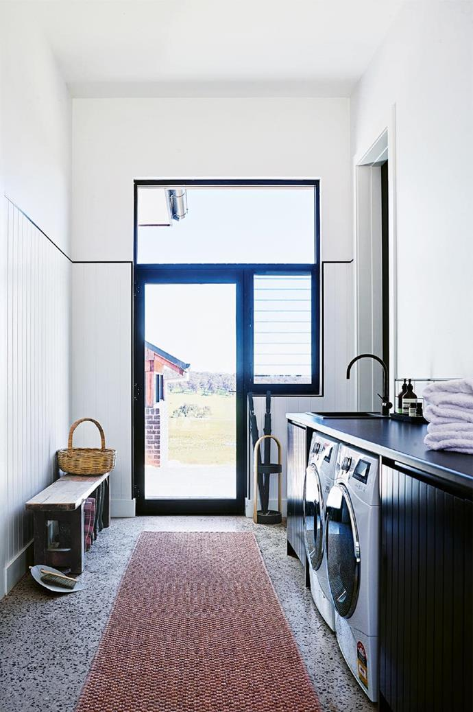 "**Laundry goals** [The farmhouse Jono designed for his parents](https://www.homestolove.com.au/step-inside-this-cosy-country-farmhouse-with-modern-interiors-17468|target=""_blank"") features a clean and simple design that packs a punch."