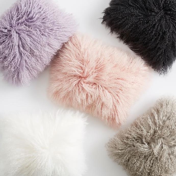 Mongolian Fur Pillow Cover, $81.73
