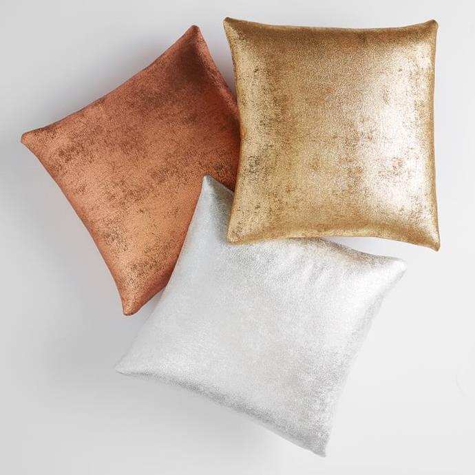 Faux Suede Metallic Pillow Cover, $40.52