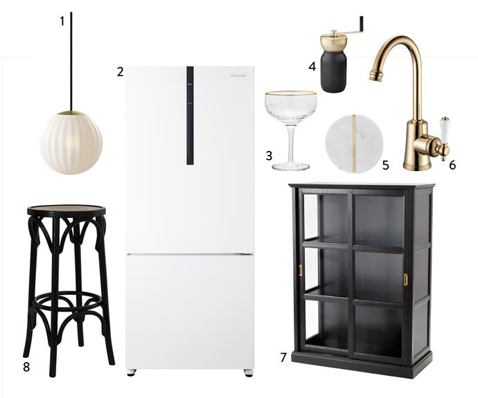 """1. Nordic Tales """"Bright Modeco"""" **pendant** light, $249, Surrounding. 2. Panasonic 407L bottom-mount **fridge** in White, $999, Harvey Norman. 3. Bloomingville Champagne **glass** in Clear, $23, Clickon Furniture. 4. Stelton """"Collar"""" **coffee grinder**, $199.90, Top3 By Design. 5. Marbella **coaster** in White Marble, $25 for set of 4, Freedom. 6. Kado """"Classic"""" **sink mixer** in Porcelain Brass Gold, $550, Reece. Malsjo glass-door **cabinet** in Black, $499, Ikea. 8. Round Tall **barstool** in Black, $265.10, Thonet."""
